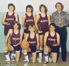 Brad Pitt (front row centre) with his childhood basketball team the Cherokee Rejects. [1977]