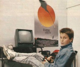 Christian Bale playing with his Amstrad computer. [c. 1984]
