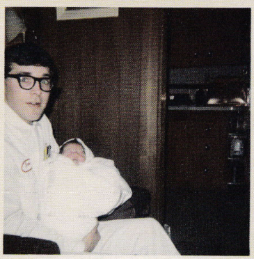 Don Cobain, Kurt Cobain's father, holds his new-born son. [1967]