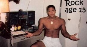 Dwayne Johnson aka The Rock at age 15. [1987]