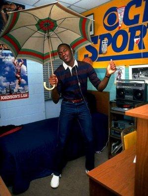 Michael Jordan in his dorm at college. [1982]