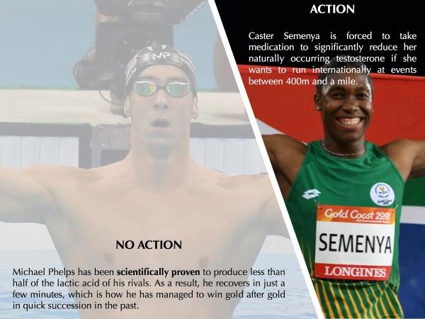 Caster Semenya, Michael Phelps, IAAF, Athletics, Swimming, Rules